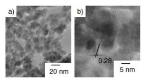 液中プラズマ法で合成した酸化亜鉛ナノ粒子のTEM像。b)は高分解TEM像で、結晶格子フリンジが見られる。(文献2から)